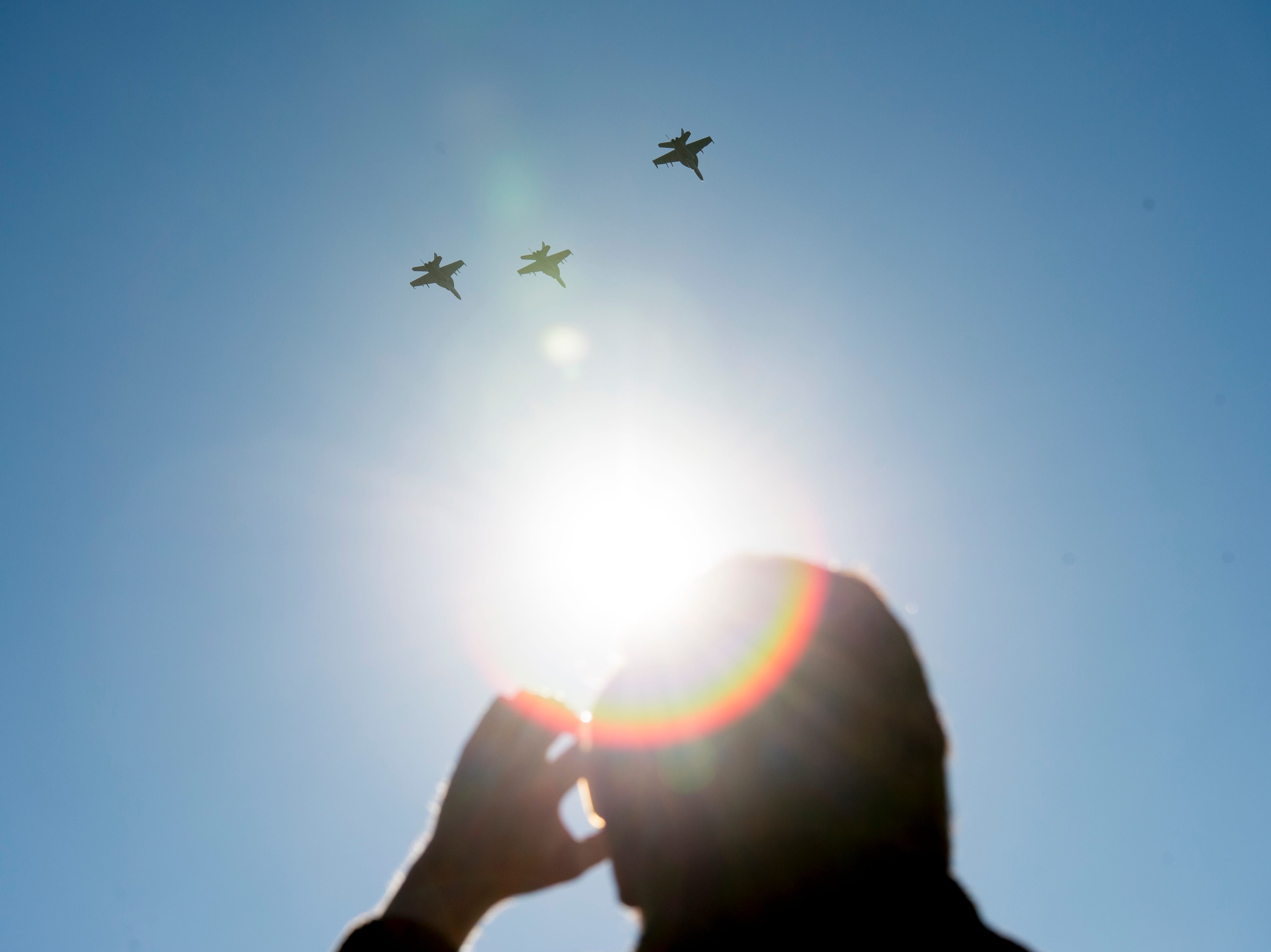 Three of the four fighter jets fly above a graveside service for Rosemary Mariner, the US Navy's first female fighter pilot, at New Loyston Cemetery in Maynardville, Tennessee on Saturday, February 2, 2019. The jets were flown by four female fighter pilots, and was the first all-female flyover by the Navy.