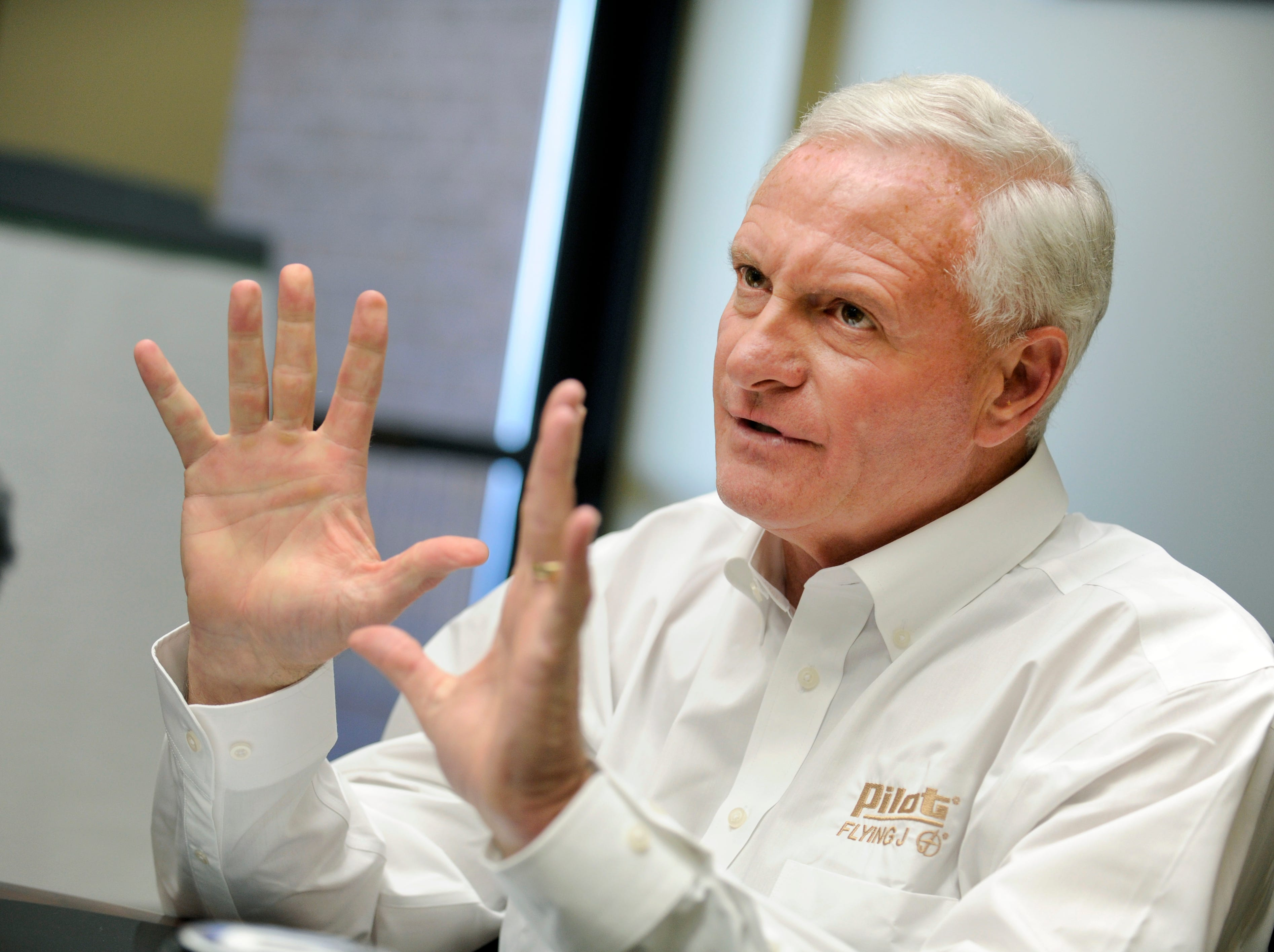 Pilot Flying J CEO Jimmy Haslam during a press conference Monday, Apr. 22, 2013 in the boardroom at their Knoxville headquarters .