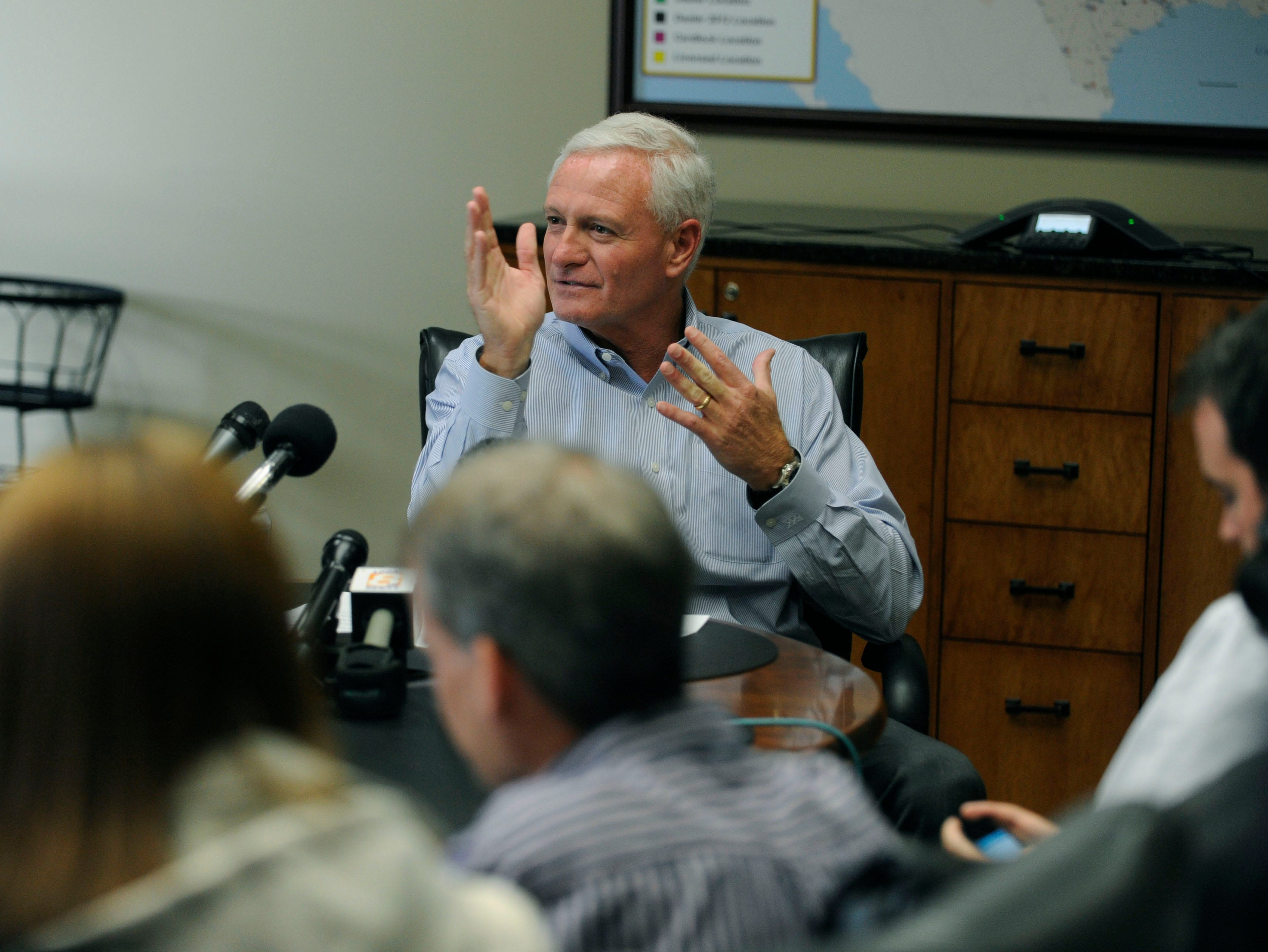Pilot CEO Jimmy Haslam during a press conference Friday, Apr. 19, 2013 at the corporate office in Knoxville.