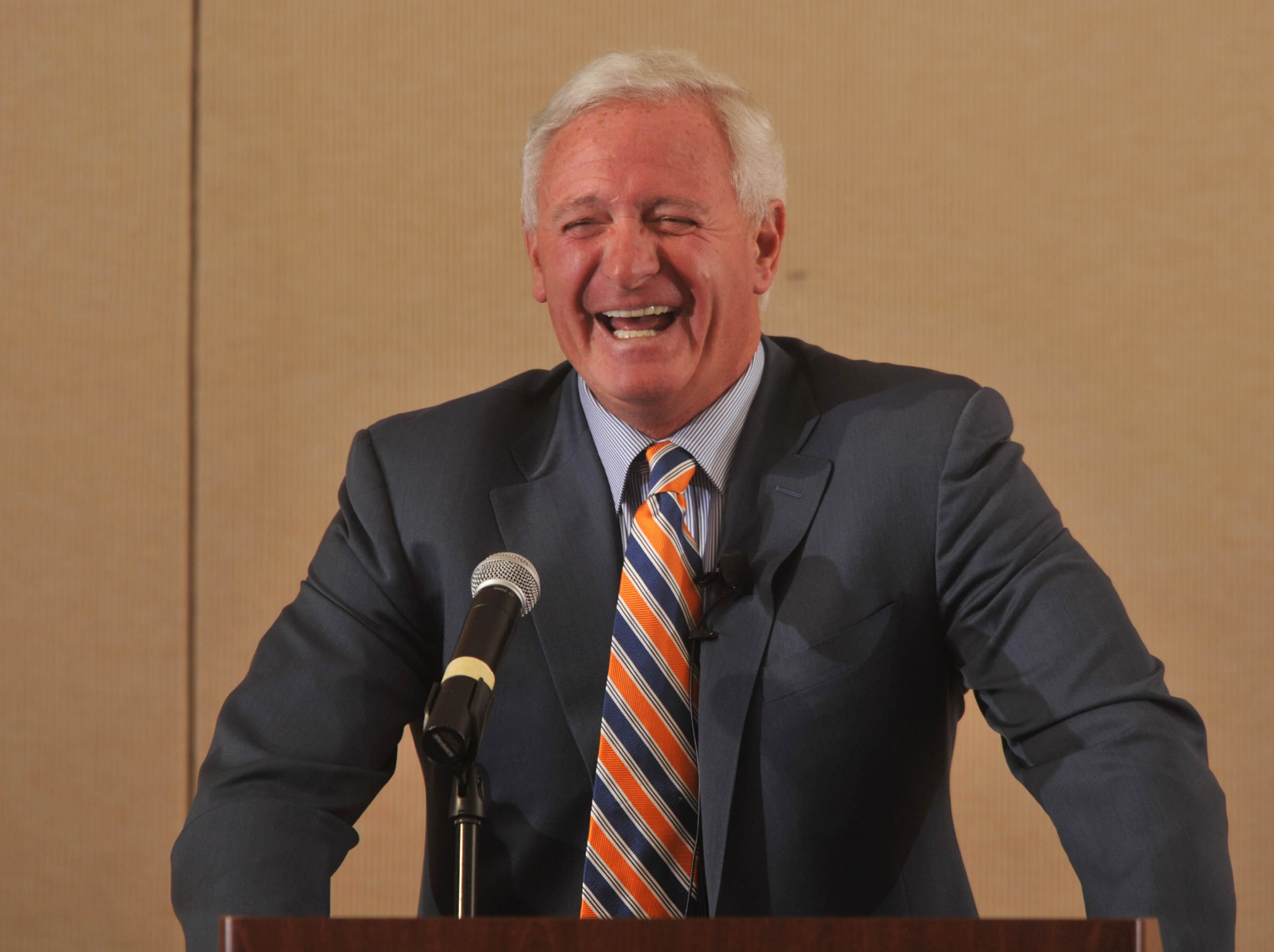 Jimmy Haslam gives a talk about the company he runs, Pilot Flying J, and the NFL team he owns, the Cleveland Browns, during a Knoxville Chamber execUTive Speaker Series presentation Wednesday, April 10, 2013, at the Marriott.