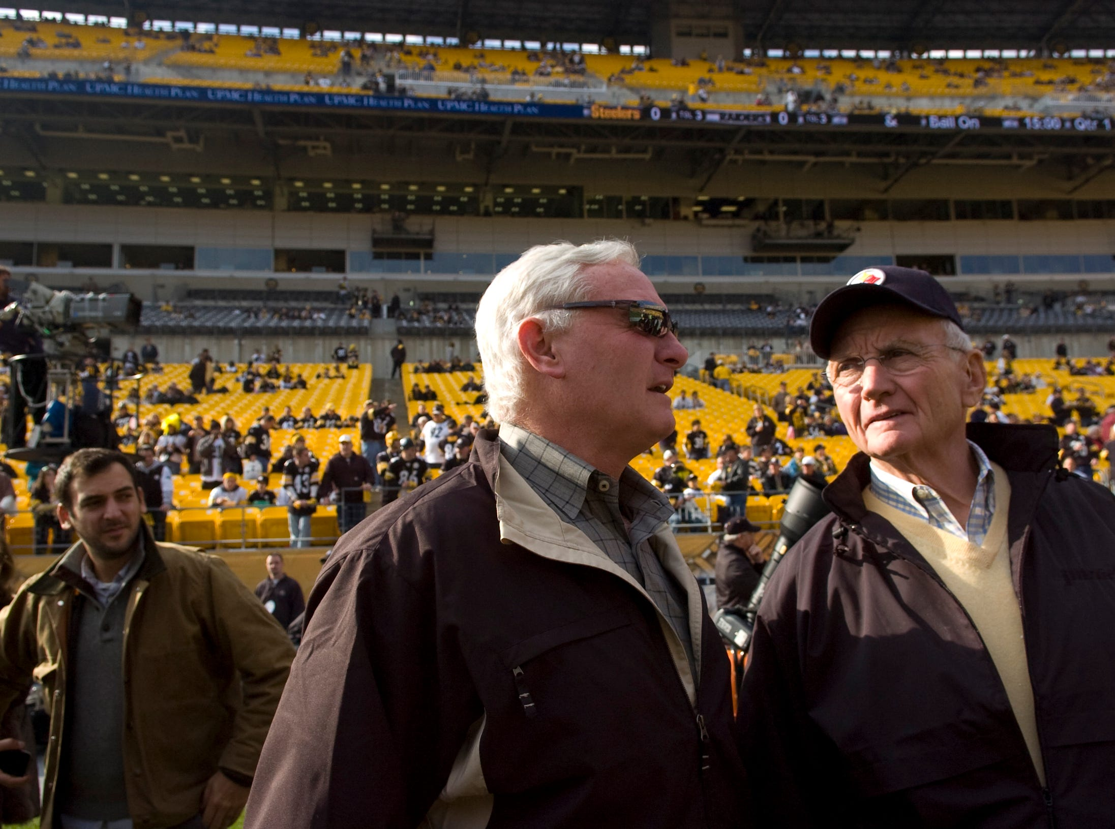 Jimmy, left,  and Jim Haslam talk before the Pittsburgh Steelers and the Oakland Raiders game Nov. 21, 2010 in Pittsburgh, Penn. Jimmy Haslam became a partner in the Pittsburgh Steelers in 2008.