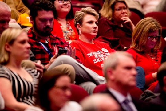 Attendees listen as Governor Bill Lee speaks during his State of East Tennessee address at the Clarence Brown Theatre in Knoxville, Tennessee on Tuesday, March 5, 2019. Gov. Lee will give a similar State of West Tennessee address Thursday at the University of Memphis.