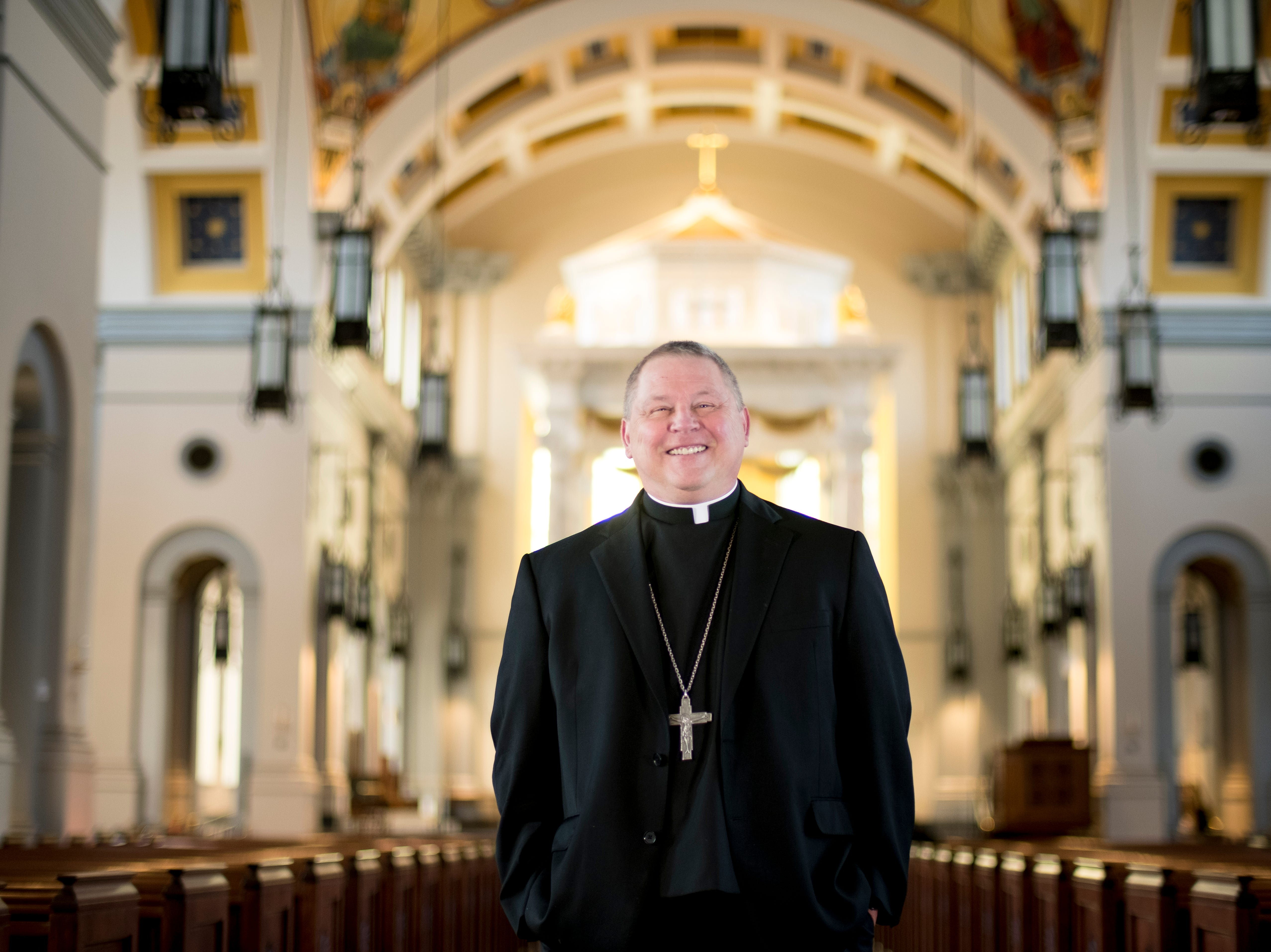 Richard Stika, bishop of the Diocese of Knoxville, poses for a portrait in Sacred Heart Cathedral in Knoxville, Tennessee on Friday, February 8, 2019. Bishop Stika's stance on the New York abortion law got him national attention when he tweeted saying the stateÕs governor should be excommunicated.