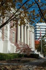 LMU Law School, formerly the Knoxville City Hall and the Deaf and Dumb Asylum, sits in downtown Knoxville.