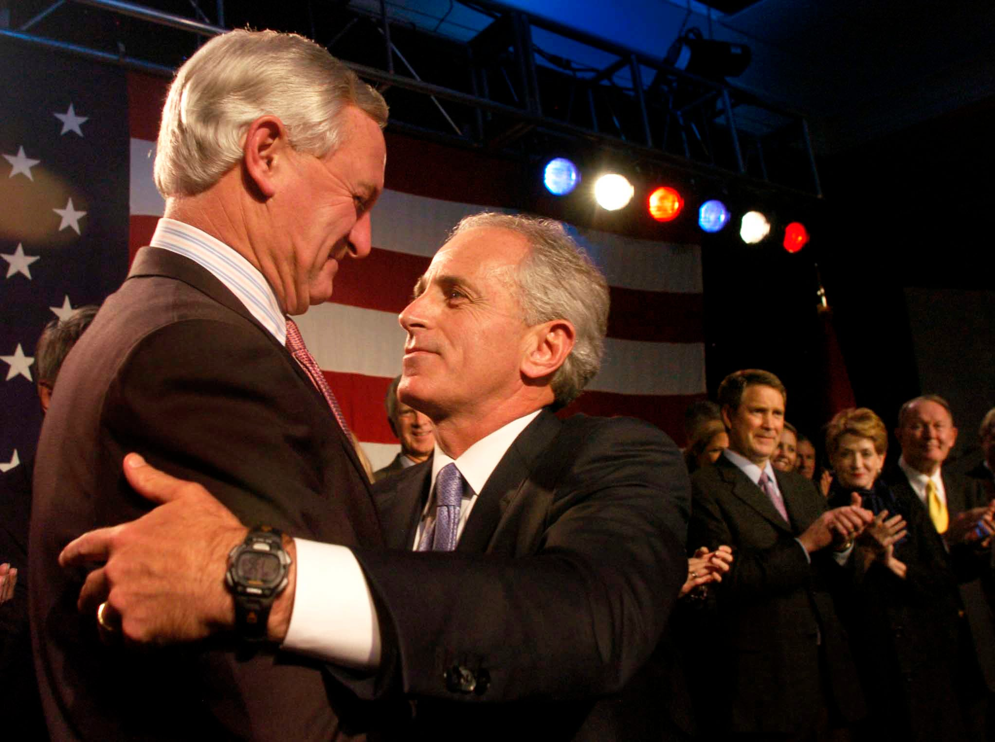 Senator-elect Bob Corker, right,  greets friend and supporter Jimmy Haslam during his victory speech in November 2006. Corker and Haslam were roommates in college and it was Corker who later encouraged Bill Haslam to run for mayor of Knoxville.