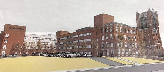 This is what Franciscan Health Lafayette's central campus will look like, viewing it from 14th Street, once the two oldest wings of the hospital are demolished and an addition is added to the facility.