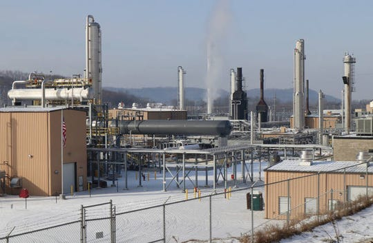 Gas processing plants like this MarkWest plant in Butler County, Pennsylvania, separate natural gas liquids from natural gas.