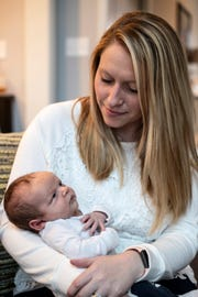 New mom Hillary Rush with her son Rainey. Feb. 6, 2019