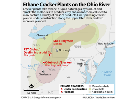 A look at ethane cracker plants along the Ohio River.