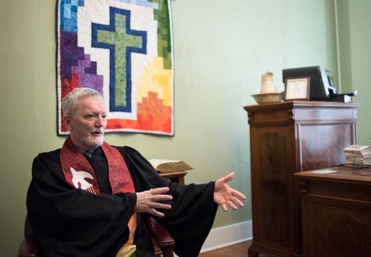 Rev. Mark Thompson, an openly gay pastor at Central Methodist Church in Lansing, talks about the church's stance on homosexuality, Monday, March 4, 2019, in his office at the church.