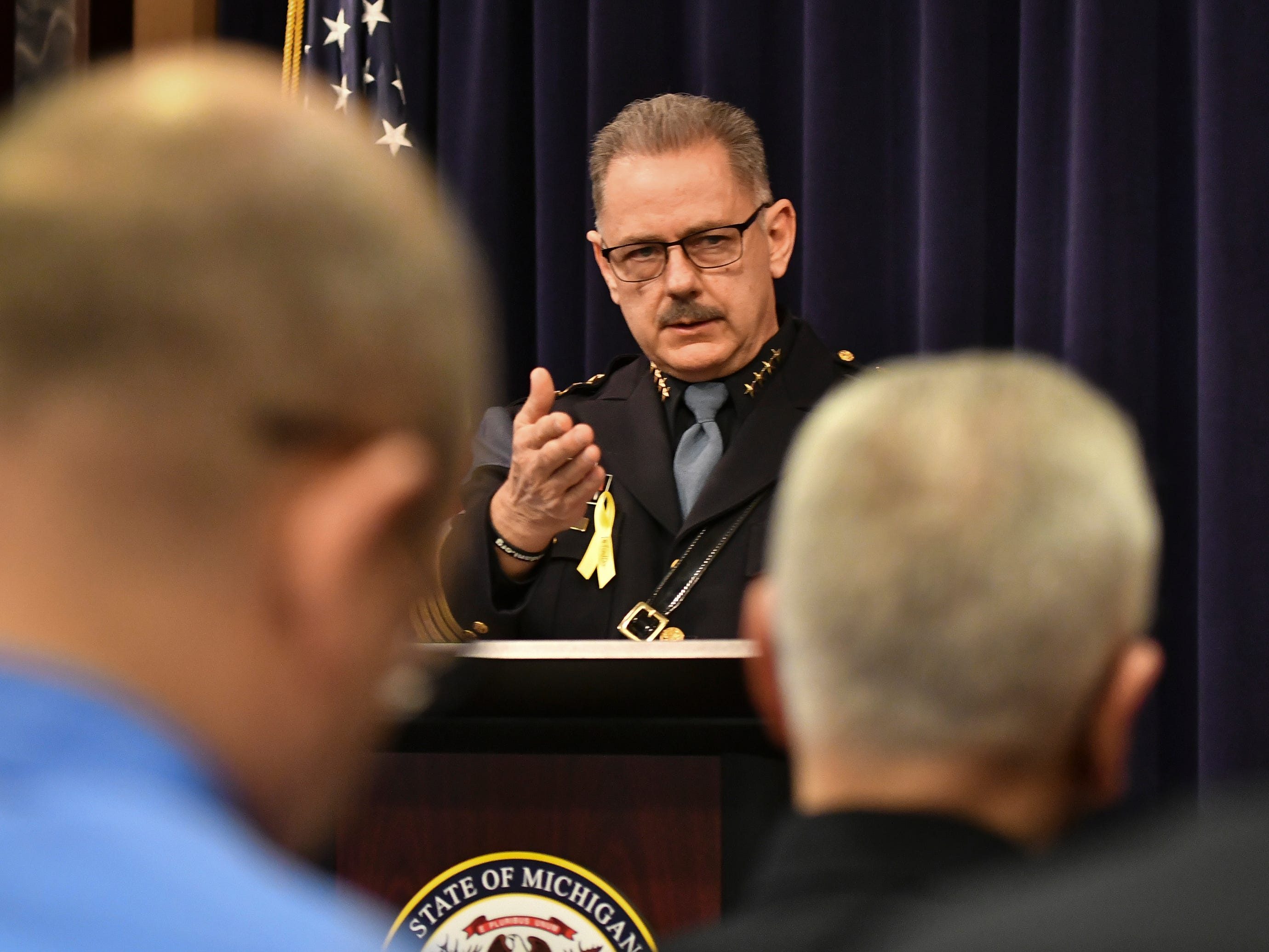 Farmington Hills Police Chief Charles Nebus speaks Tuesday, March 5, 2019, at the Attorney General's office in downtown Lansing where Attorney General Dana Nessel announced her office has filed first degree pre-meditated murder against Floyd Calloway, Jr., for the murder of Danielle Stislicki.  The 28-year-old disappeared from a parking lot in Dec. of 2016, and has never been found.