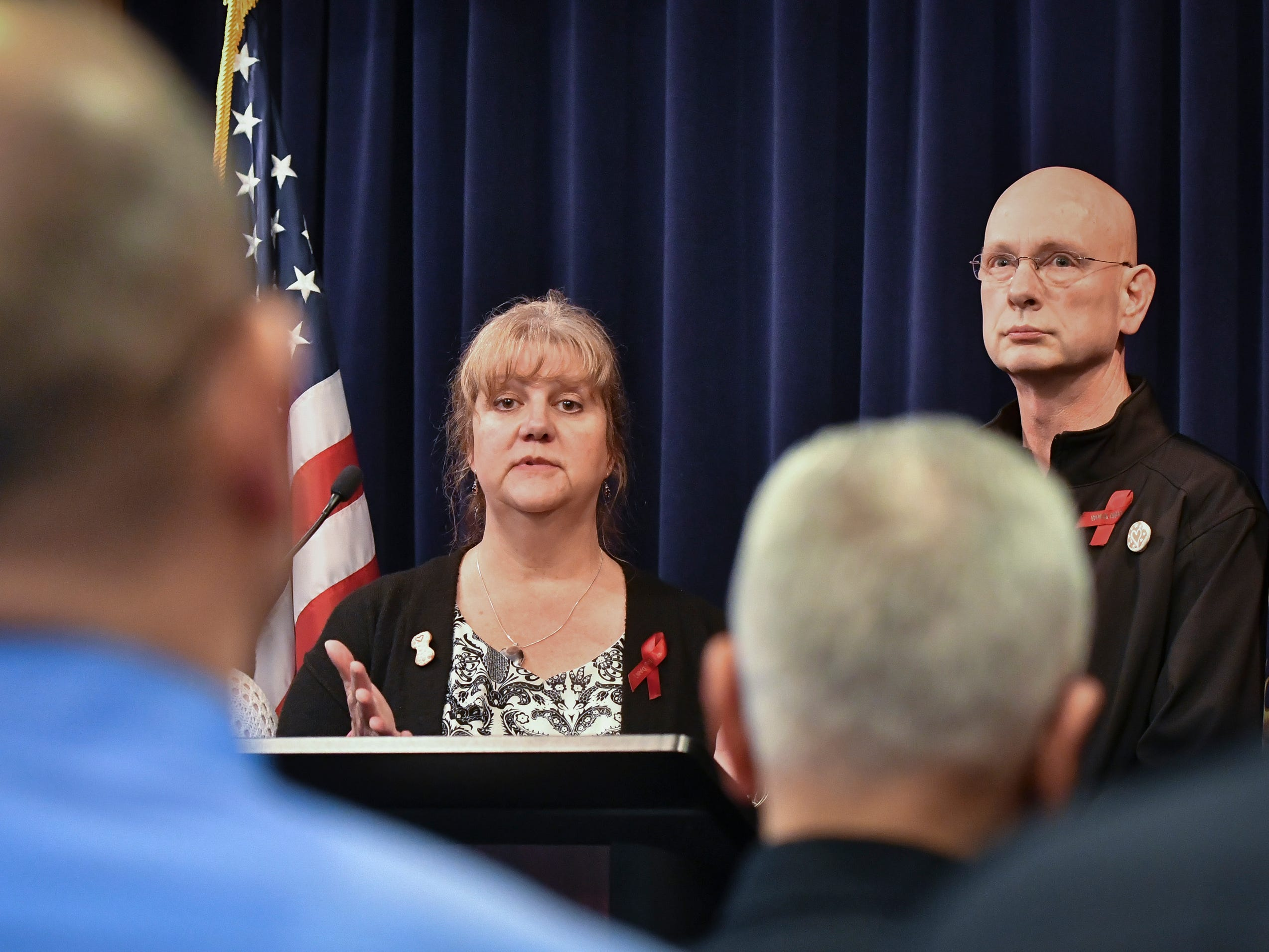 Ann and Richard Stislicki thank law enforcement and the Attorney General's office for their work, Tuesday, March 5, 2019, in downtown Lansing, related to the disappearance of their daughter Danielle.  Attorney General Dana Nessel filed first degree pre-meditated murder against Floyd Calloway, Jr., for the murder of Danielle Stislicki.  The 28-year-old disappeared from a parking lot in Dec. of 2016, and has never been found.