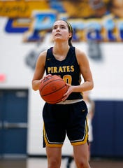 Pewamo-Westphalia's Ellie Droste shoots a free throw against Ithaca in their district opener, Monday, March 4, 2019, in Westphalia, Mich. P-W won 52-23.