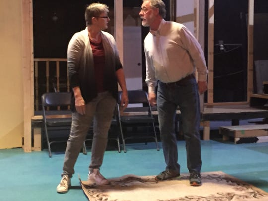 "Carla Eighinger and Doug Wertz go head-to-head in rehearsal for ""On Golden Pond."""