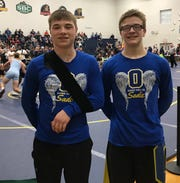 Brothers Colton, left, and Ethan  Turnbaugh will represent Ontario in the state wrestling tournament. Colton, a junior, is a repeat qualifier and Ethan, a freshman, is a district champion.
