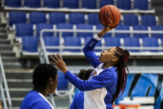 Memphis forward Ashia Jones warms up before the start of Monday night's game versus Temple.