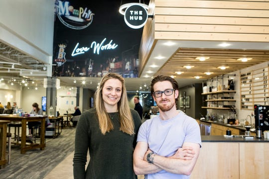 March 05, 2019 - Rachel Williams and Daniel Lynn, cofounders of Grind City Coffee Xpo pose for a portrait at The Hub inside of Highpoint Church.