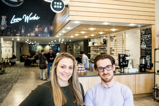Rachel Williams and Daniel Lynn, co-founders of Grind City Coffee Expo, pose for a portrait at The Hub inside of Highpoint Church on March 5, 2019. The inaugural Grind City Coffee Expo is Saturday at Memphis College of Art.