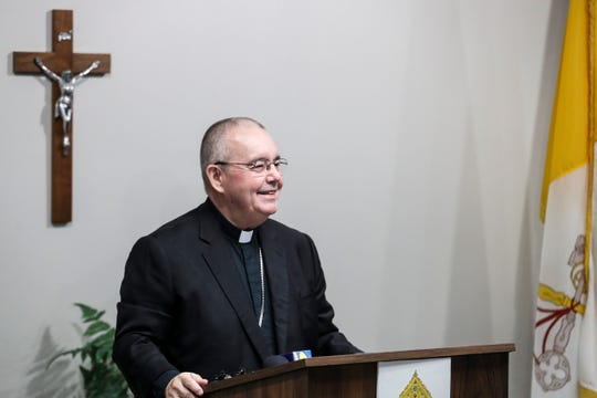March 05, 2019 - Bishop David P. Talley speaks during a press conference at the Catholic Center for the Catholic Diocese of Memphis after being introduced as the sixth Bishop of Memphis. Bishop Talley will be installed on April 2.