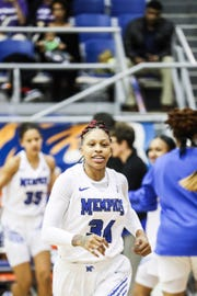 Memphis forward Ashia Jones is introduced before the start of Monday night's game versus Temple.