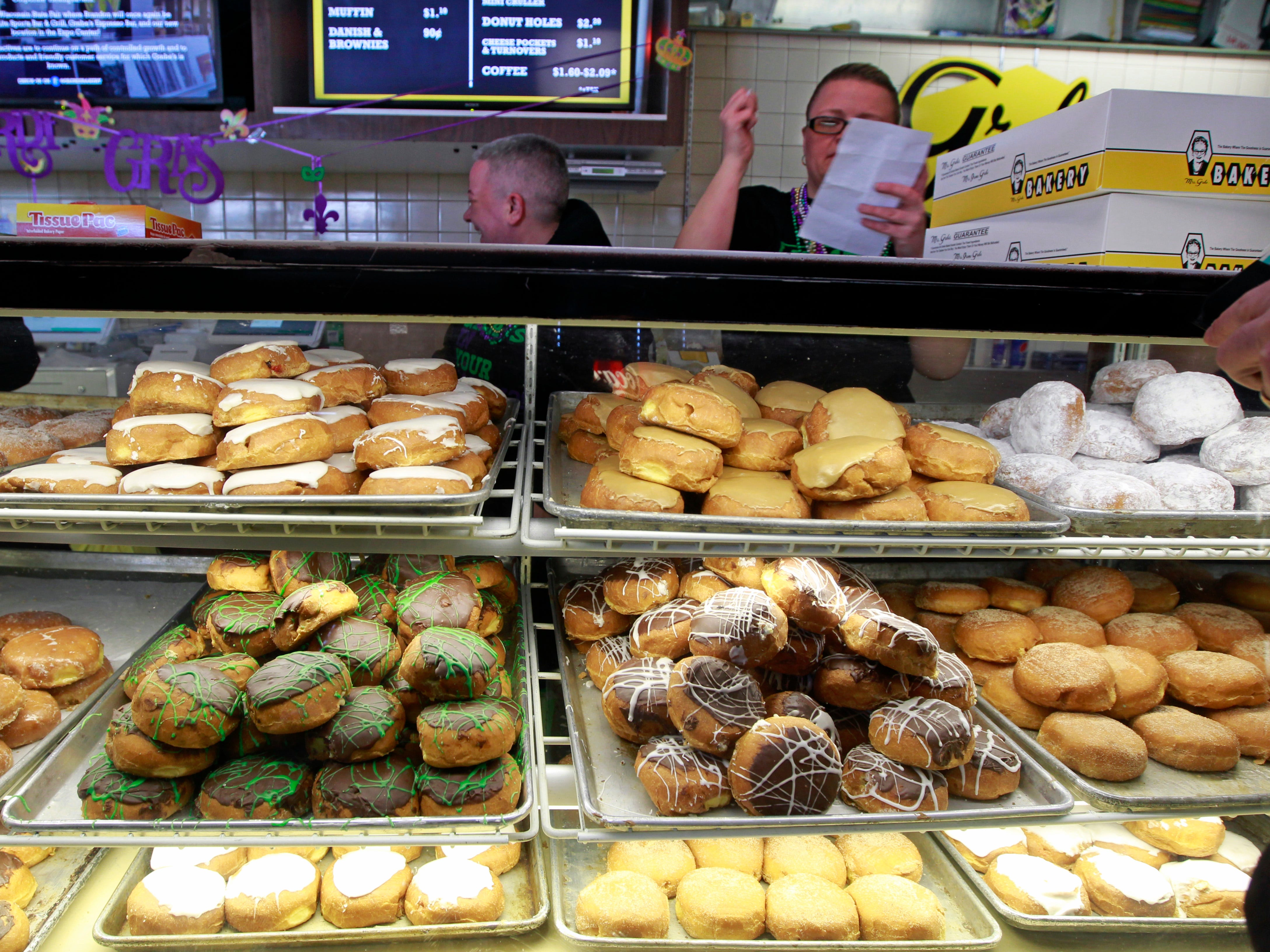 A variety of paczki are seen at Grebe's Bakery in West Allis for the Fat Tuesday tradition.
