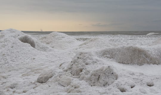 Ice canos and other formations form along the shore at Schlitz Audubon Nature Center in Bayside.