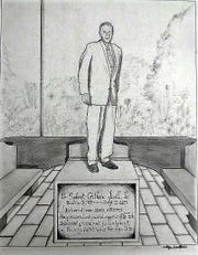 Artist sketch of Dr. Guthrie Jarrell's Memorial