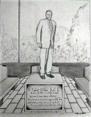 Artist sketch of Dr. Guthrie Jarrell's Memorial