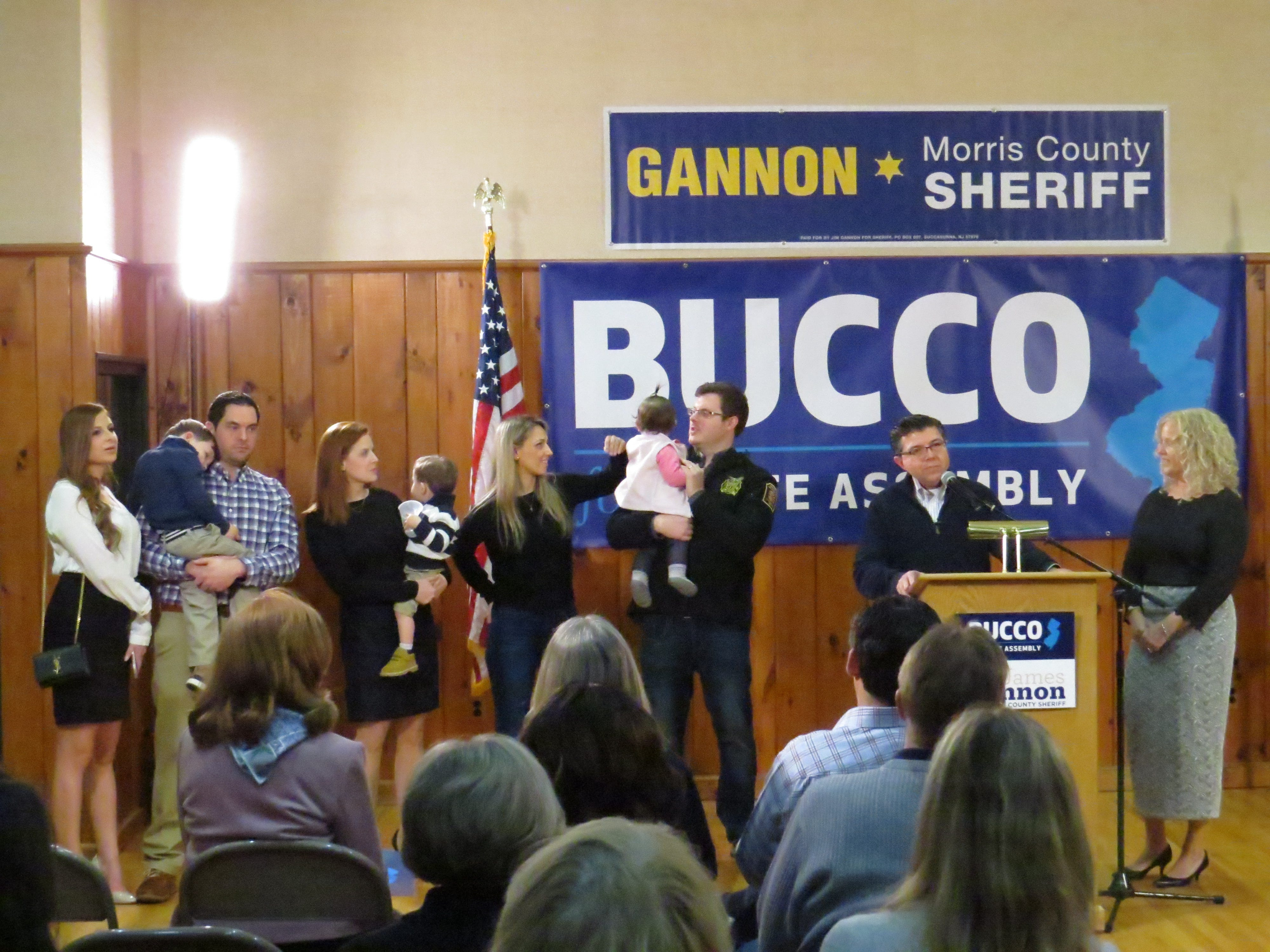 Assemblyman Anthony Bucco announces his re-election campaign along with Morris County Sheriff James Gannon at the Boonton Sokol Lodge. March 4, 2019.