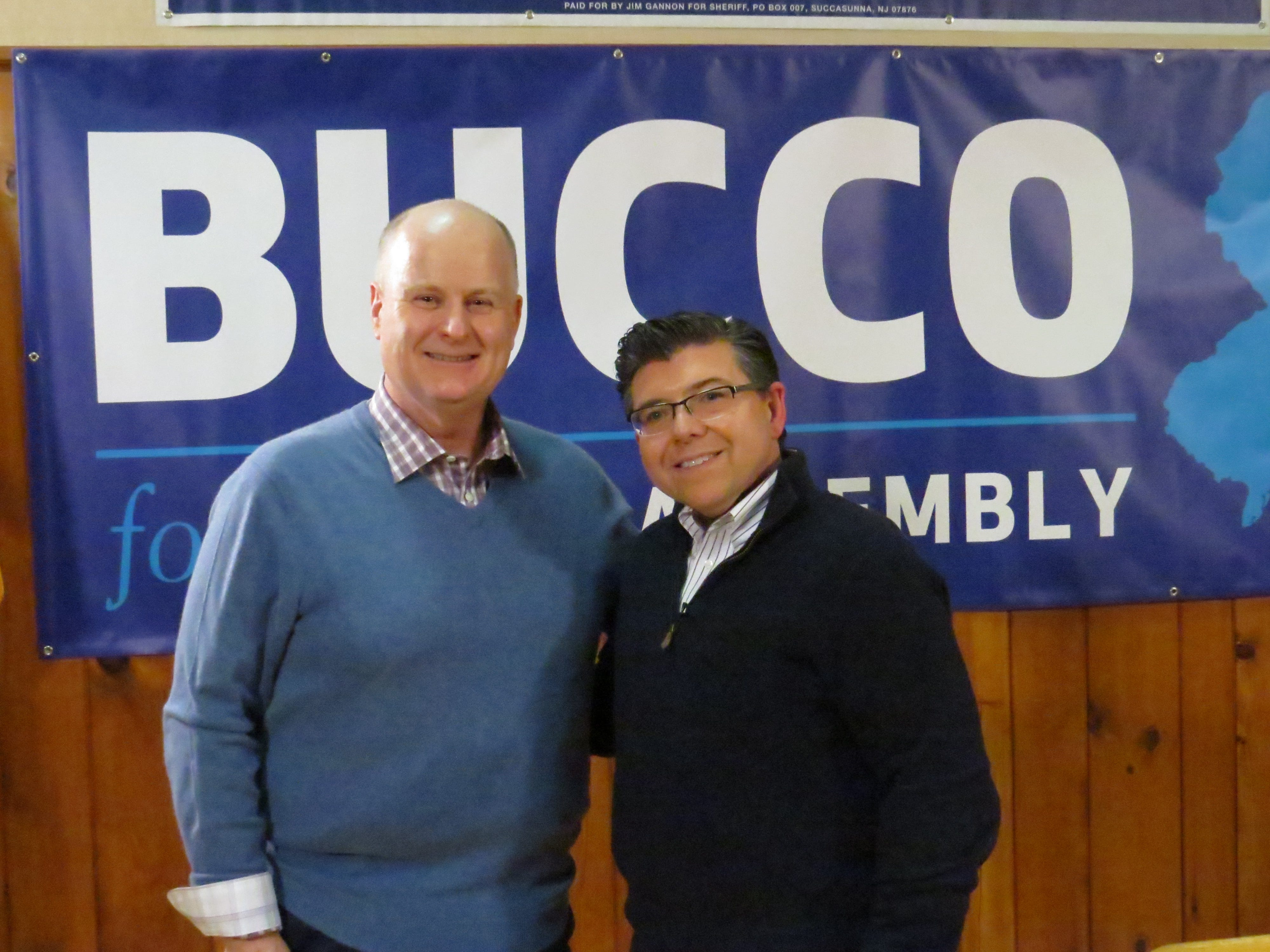 Morris County Sheriff James Gannon, left, announces  his re-election campaign along with Assemblyman Anthony Bucco at the Boonton Sokol Lodge. March 4, 2019.