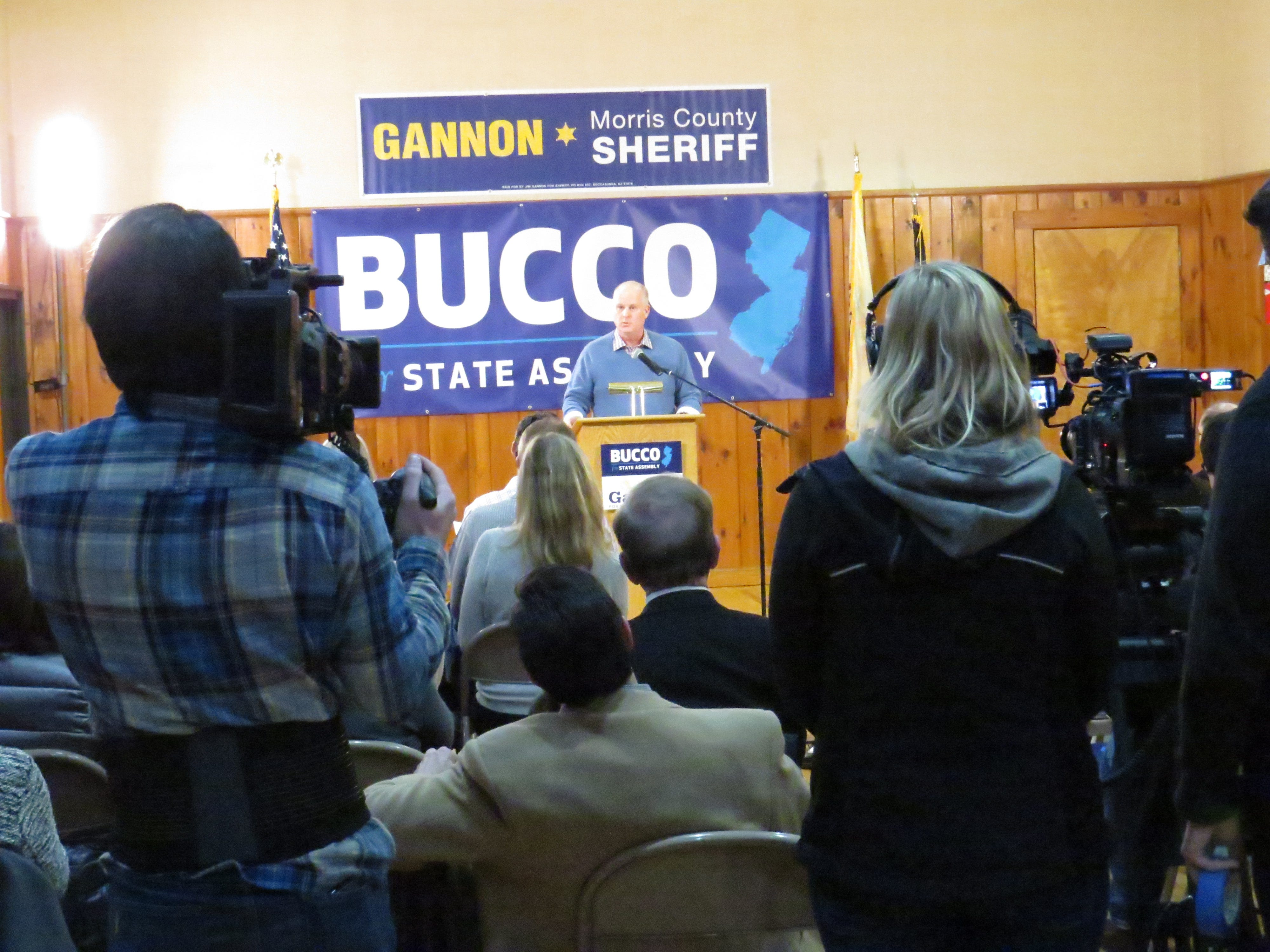 Morris County Sheriff James Gannon announces  his re-election campaign along with Assemblyman Anthony Bucco at the Boonton Sokol Lodge. March 4, 2019.