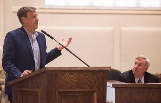 Chris Conway, Director of Public Works presents a new vacant home database technology to the city council at Montgomery City Hall in Montgomery, Ala., on Tuesday, March 5, 2019.