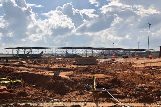 Construction progresses at the site of the future 100th Fighter Squadron operations building, February 21, 2019 at Dannelly Field in Montgomery. The 23,000 square foot facility will include simulator bays and secure areas to facilitate the future F-35A mission.