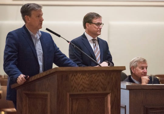 Director of Public Works Chris Conway, Finace Director Barry Crabb and Mayor Todd Strange present a new vacant home database technology to the city council at Montgomery City Hall in Montgomery, Ala., on Tuesday, March 5, 2019.