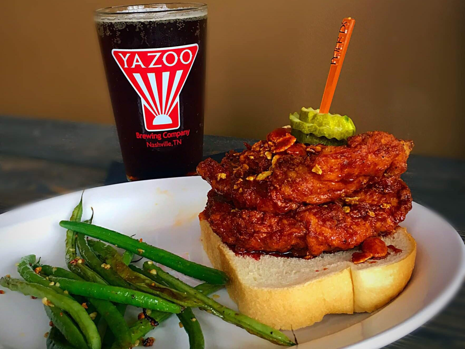 PDK Southern Kitchen and Pantry offerings a Nashville hot chicken sandwich. The restaurant also offers beer and wine.