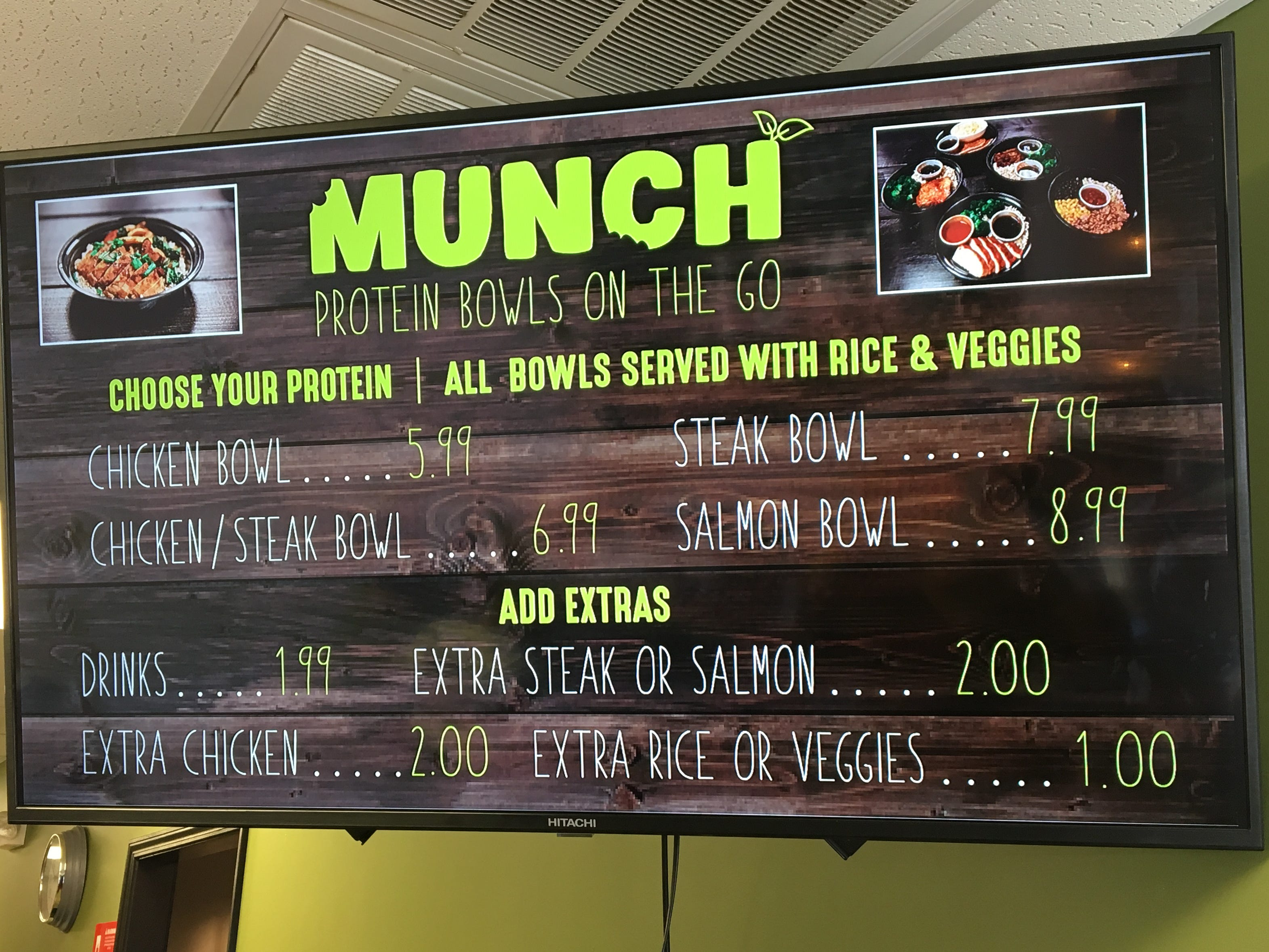 Munch Murfreesboro will offer bowls filled with your choice of protein, rice and mixed vegetables.