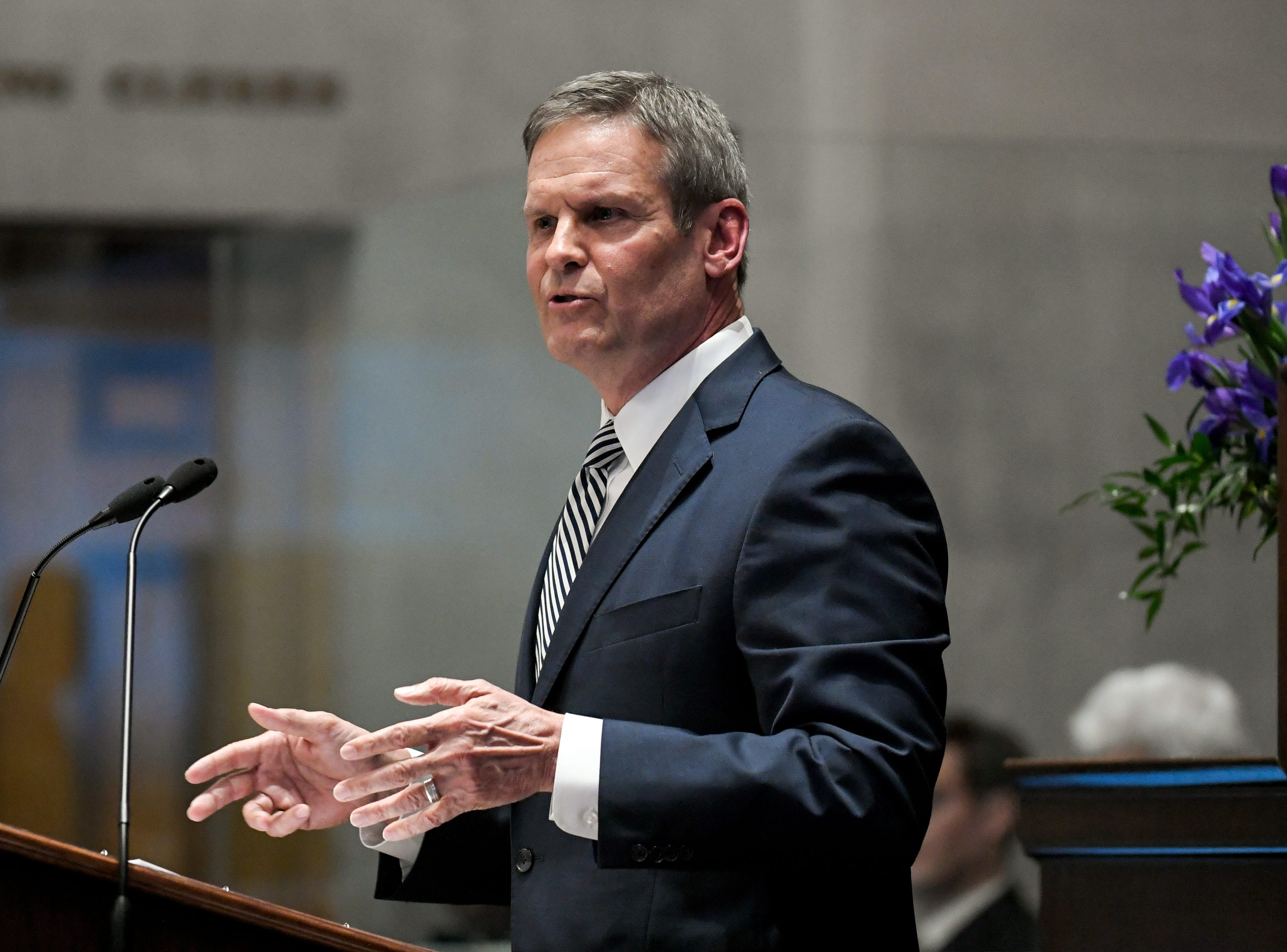 Gov. Bill Lee gives his first State of the State address before a joint session of the Tennessee General Assembly on March 4, 2019, inside the House chambers at the state Capitol.