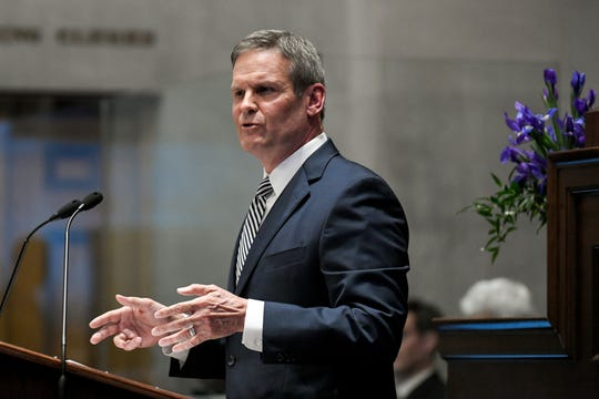 Gov. Bill Lee gives his first State of the State address before a joint session of the Tennessee General Assembly on March 4 inside the House chambers at the state Capitol.