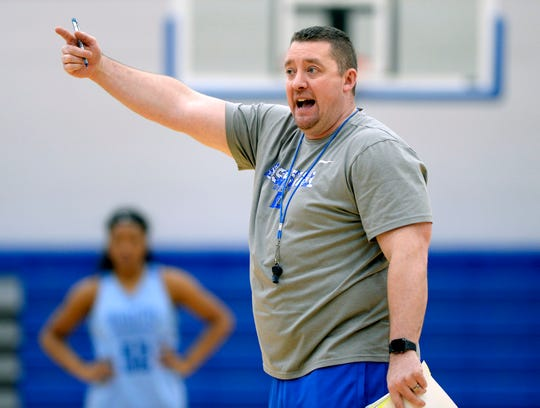 Lebanon High School girls basketball coach Cory Barrett instructs his players during a team practice on Monday, March 4, 2019, in Lebanon Tenn. Lebanon is preparing for the state playoffs.