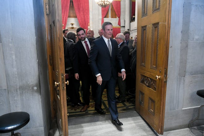 Gov. Bill Lee exits his first State of the State address before a joint session of the Tennessee General Assembly inside the House chambers at the state Capitol in Nashville on Monday, March 4, 2019.