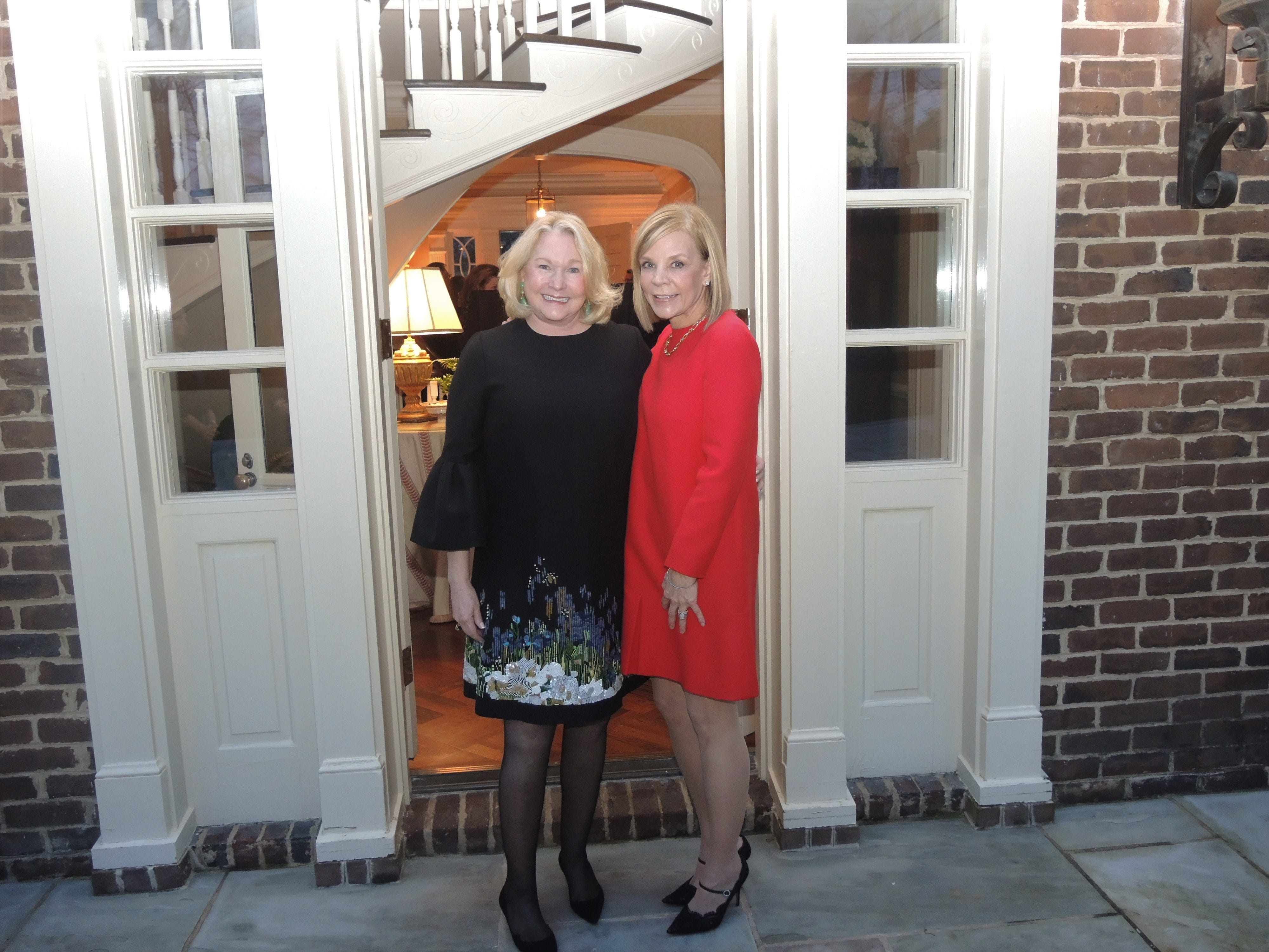 Swan Ball 2019 Chairs Ellen Martin, left, and Jana Davis at the Swan Ball 2019 Unveiling, held at the home of Kathy and Bobby Rolfe.