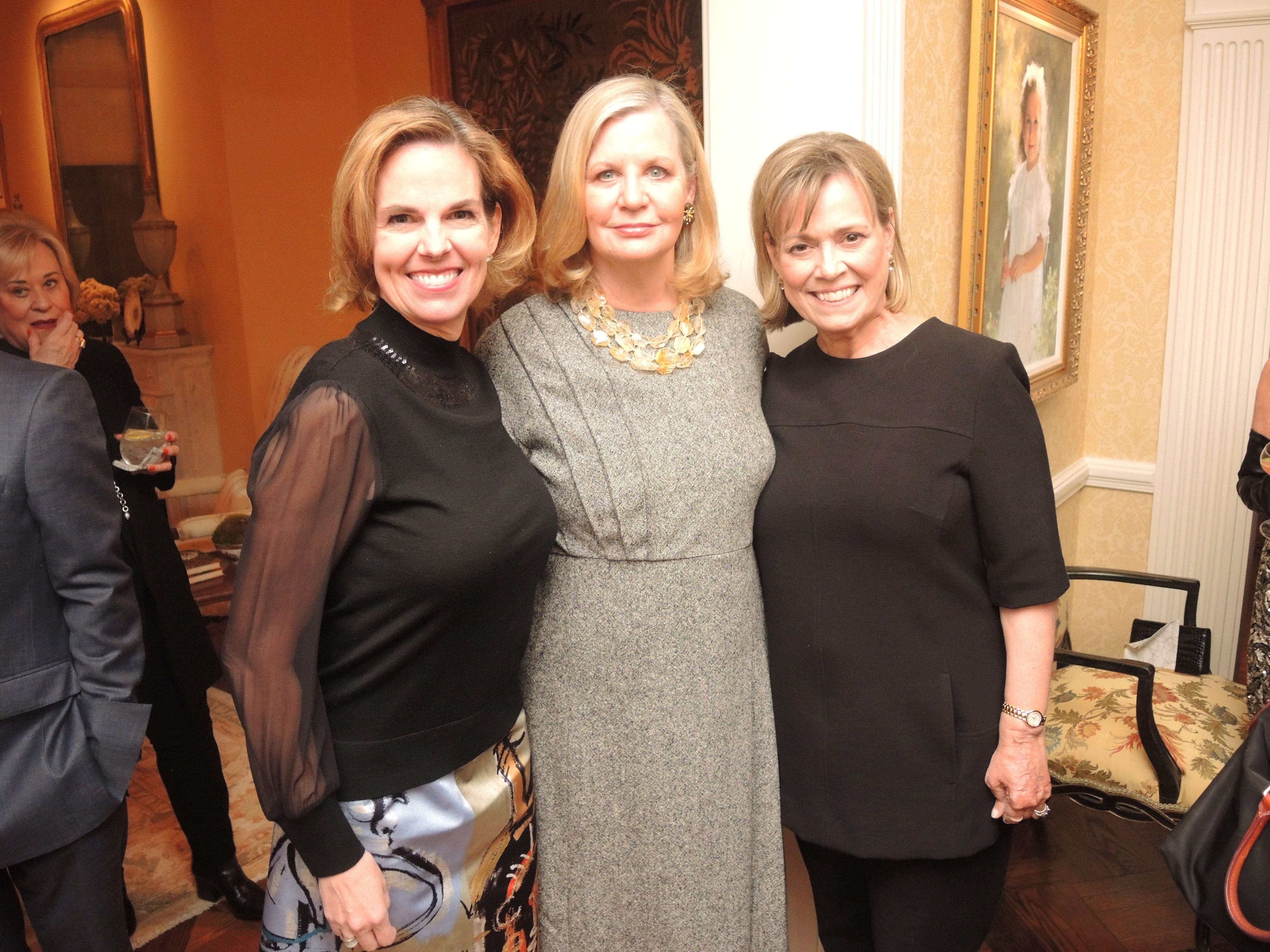 Patti Smallwood, left, Julia Jarman and Elizabeth Akers at the Swan Ball 2019 Unveiling, held at the home of Kathy and Bobby Rolfe.