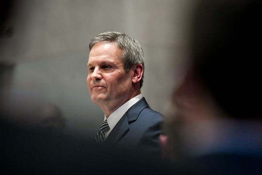 "Gov. Bill Lee at his first State of the State address on Monday. Lee's first major education policy proposal has been ""education savings accounts,"" a type of voucher program that would use state money to pay for private education."
