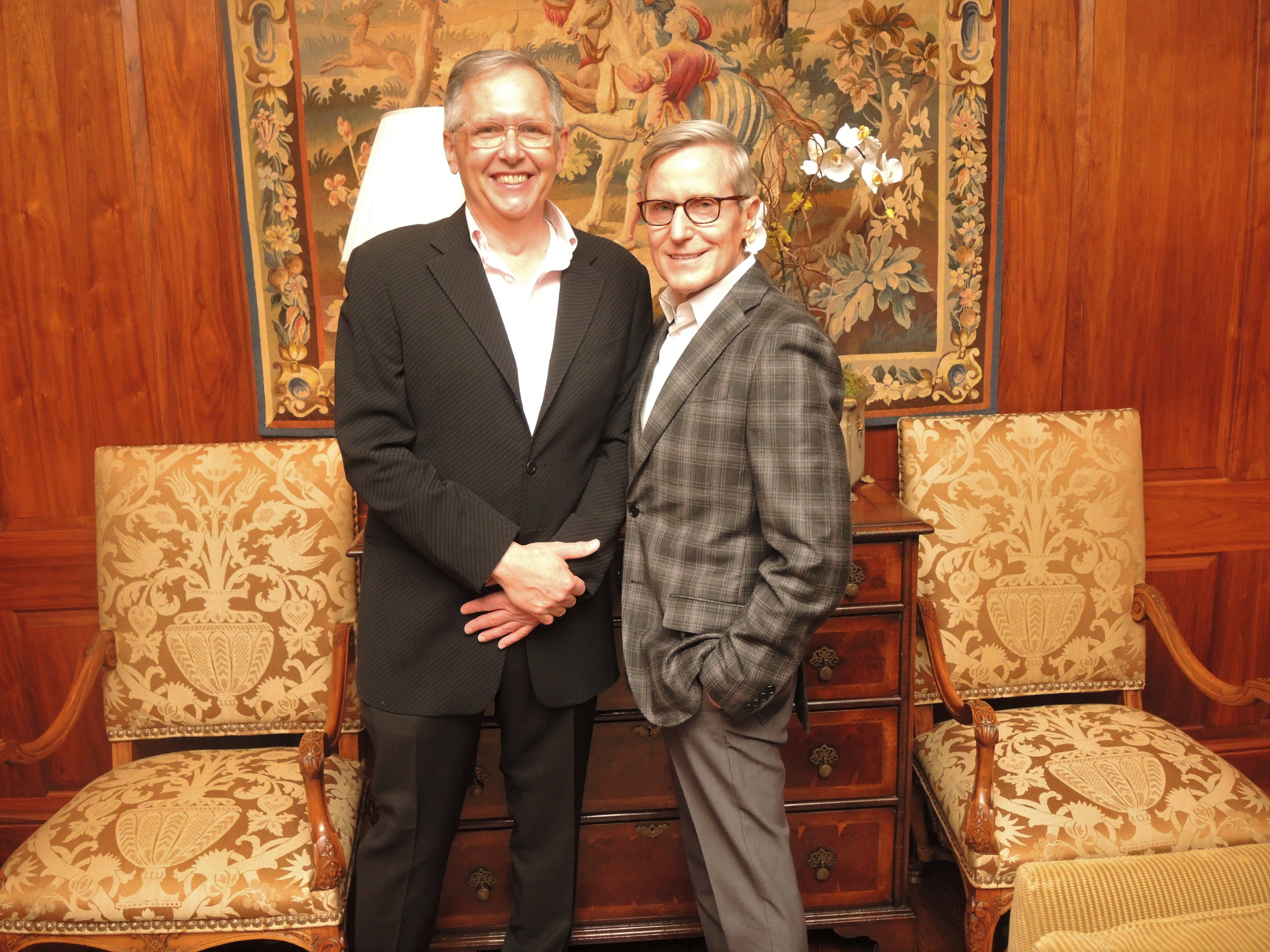 Monty Smith, left, and Mark O'Bryan at the Swan Ball 2019 Unveiling, held at the home of Kathy and Bobby Rolfe.