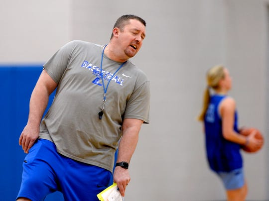 Lebanon High School girls basketball coach Cory Barrett reacts during a team practice on Monday, March 4, 2019, in Lebanon Tenn. Lebanon is preparing for the state playoffs.