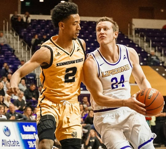 Lipscomb's Garrison Mathews (24) drives against Kennesaw State's Danny Lewis in Monday's Atlantic Sun tournament quarterfinals game at Allen Arena.