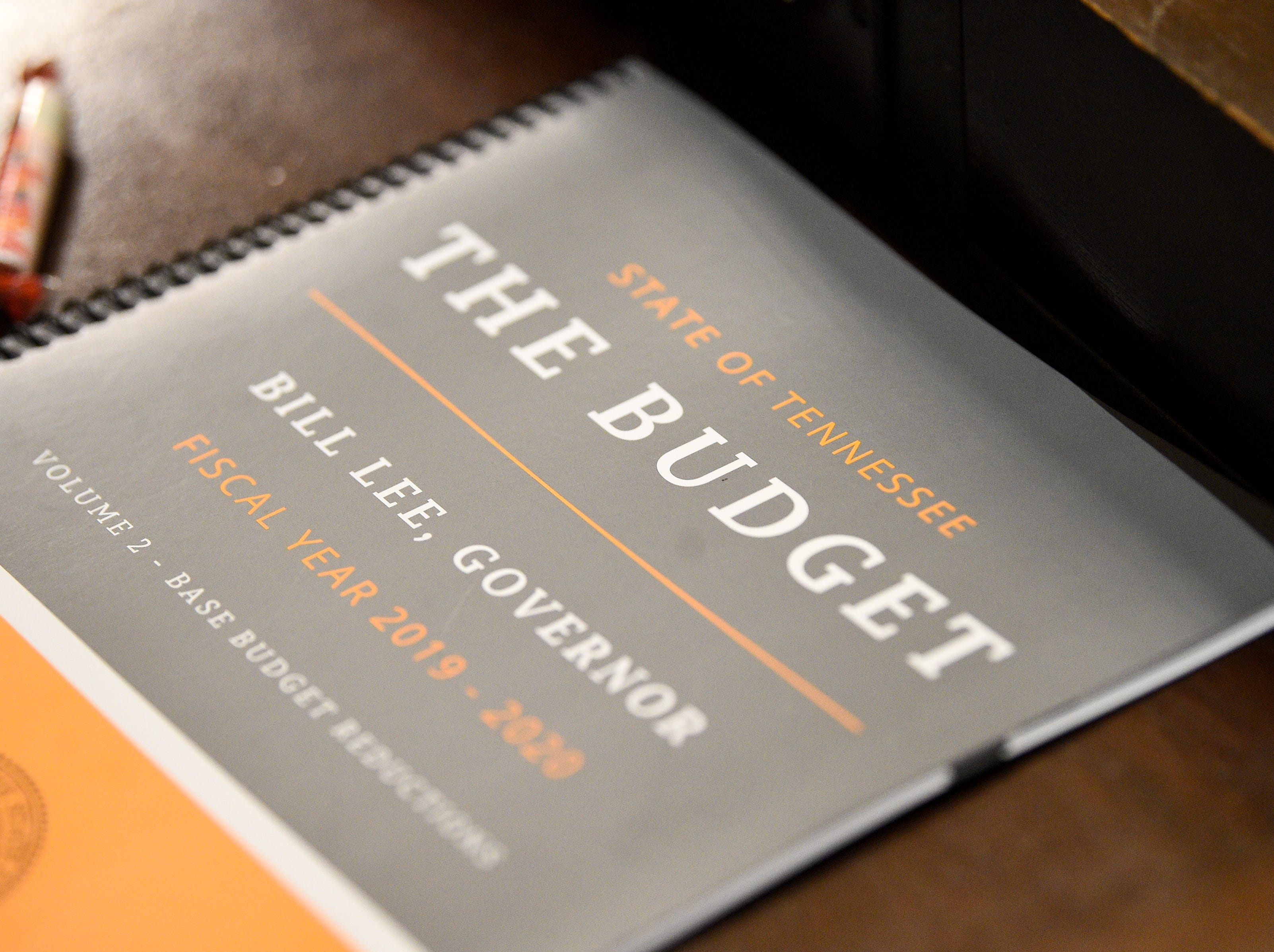 Gov. Bill Lee's budget during his first State of the State address before a joint session of the Tennessee General Assembly inside the House chambers at the state Capitol in Nashville on Monday, March 4, 2019.