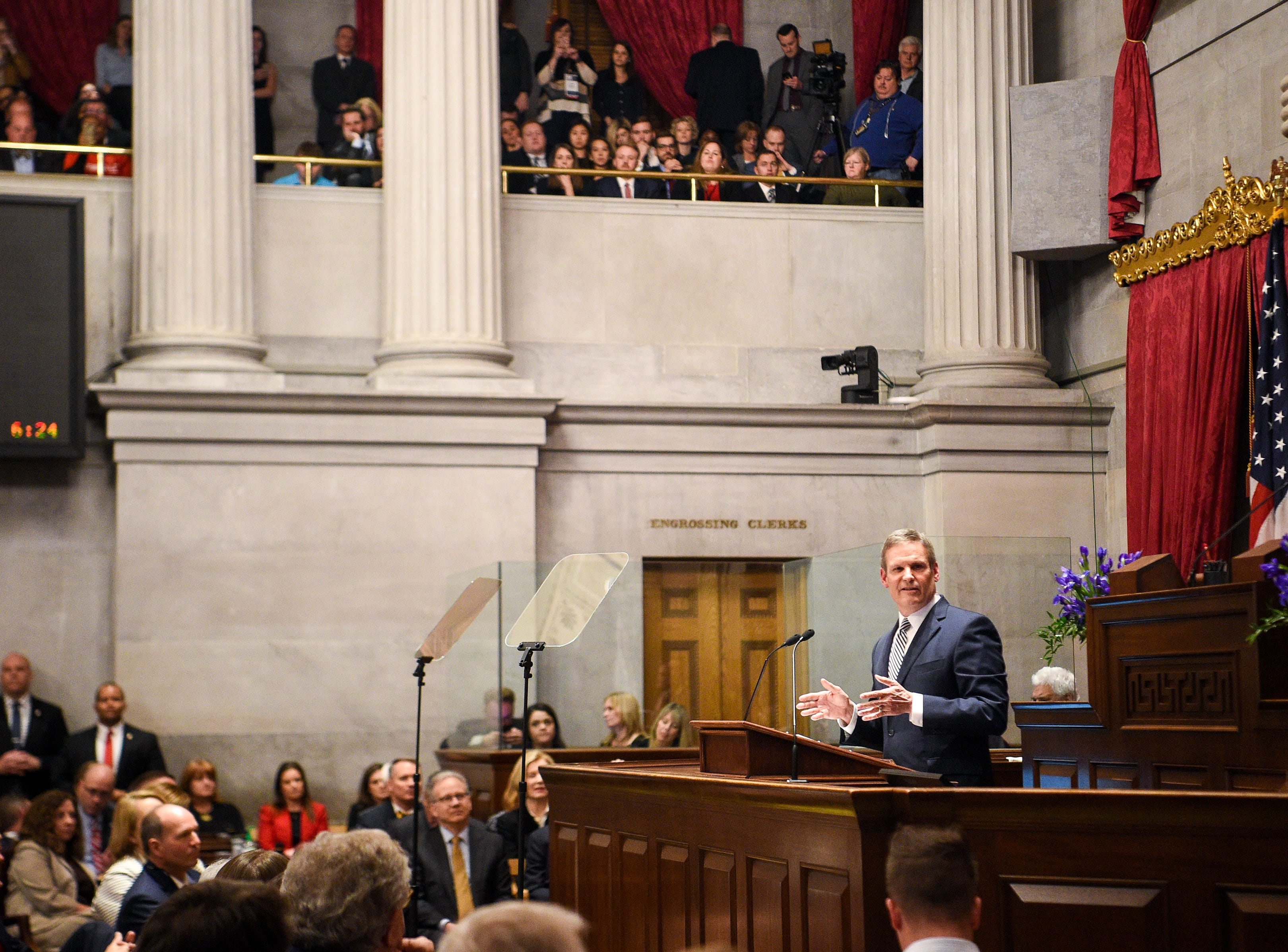Gov. Bill Lee gives his first State of the State address before a joint session of the Tennessee General Assembly inside the House chambers at the state Capitol in Nashville on Monday, March 4, 2019.