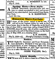 Runaway slave ad from the Republican Banner and Nashville Whig newspaper on May 16, 1849