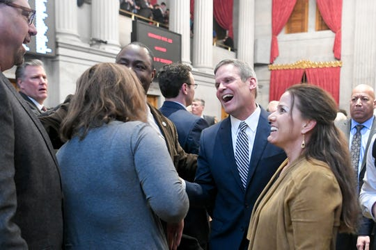 Gov. Bill Lee exits his first State of the State address before a joint session of the Tennessee General Assembly inside the House chambers at the state Capitol in Nashville on March 4.
